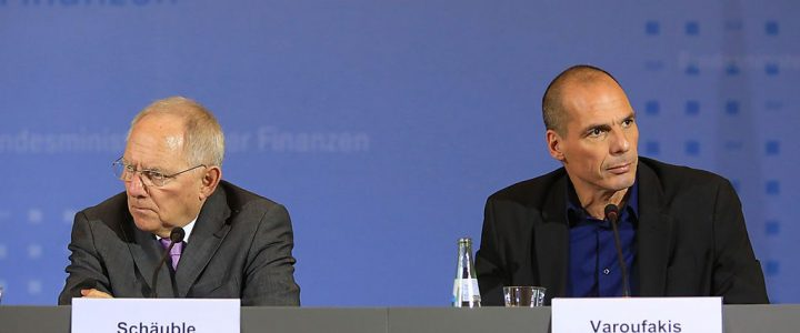 Greek Finance Minister Yanis Varoufakis Attends News Conference With Germany's Finance Minister Wolfgang Schaeuble