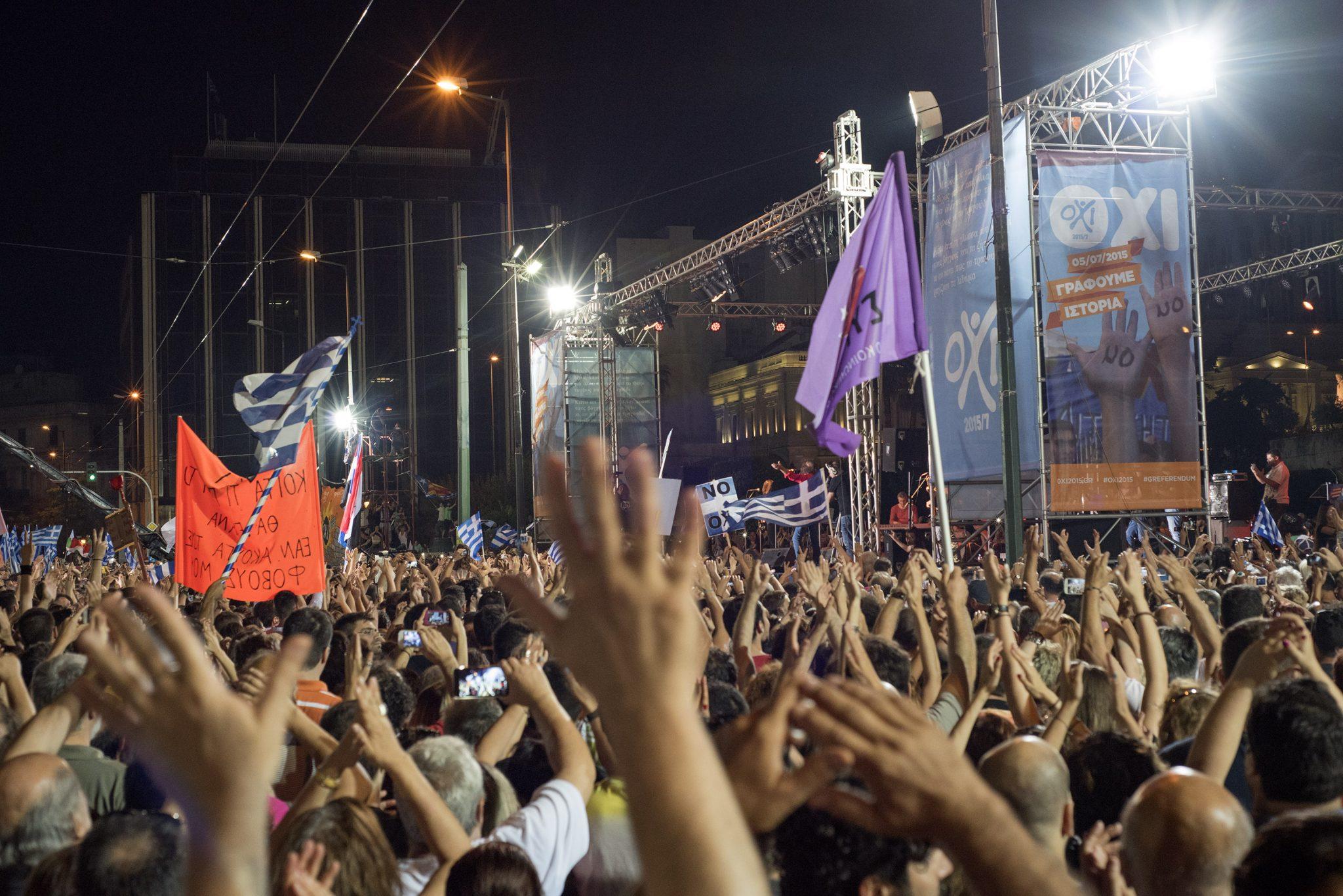 20150703 Greek Referendum Demonstration for NO syntagma square Athens Greece - Brexit, Ceta, Oxi: Historische Momente
